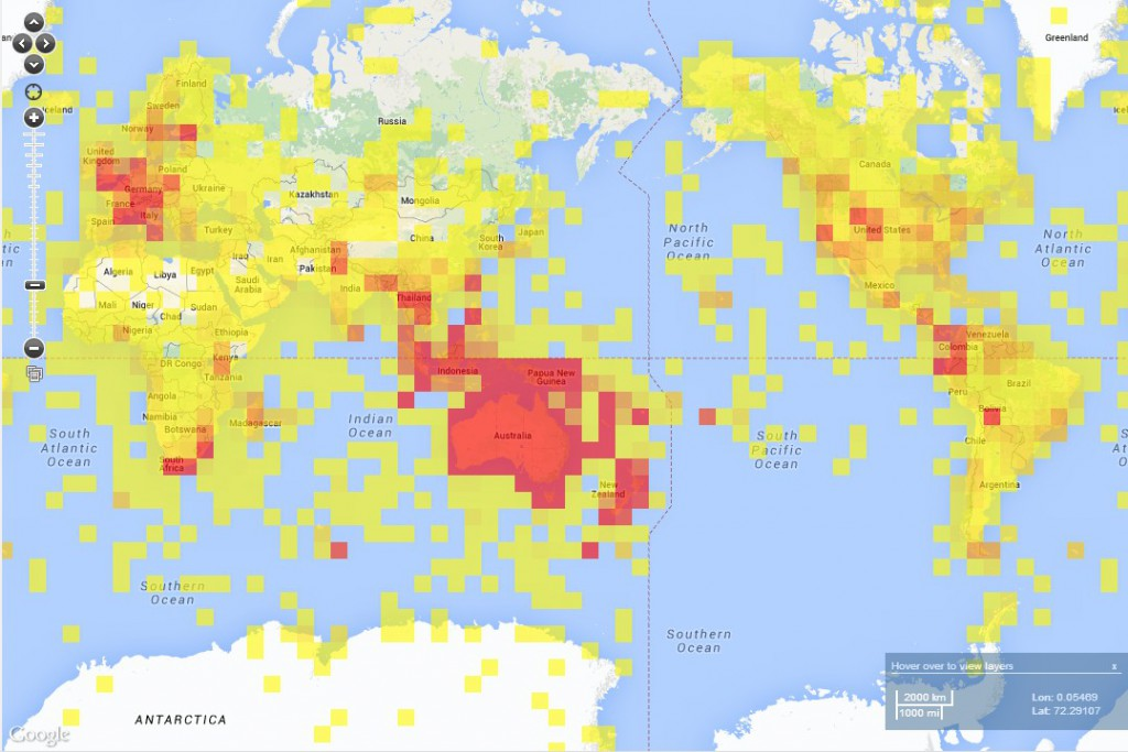 Collection density map showing world coverage of AVH records; grid cells are 3 × 3 square degrees and colours indicate number of collections per cell, ranging from yellow: 0–100 collections, to the brightest red: more than 500 collections. – From: Atlas of Living Australia Spatial Portal, <https://spatial.ala.org.au>, accessed 18 April 2014.