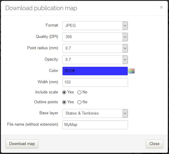 Download map options modal